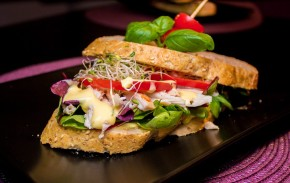 Sandwich med grillet kylling, hjemmelaget majones og grovt brød